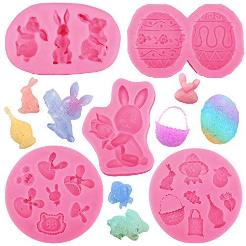 5 Pieces Easter Bunny Rabbit Silicone Molds Fondant Candy Carrot Egg Shaped Molds for Cupcake Topper Chocolate Pastry Cookie and Cake Decorations
