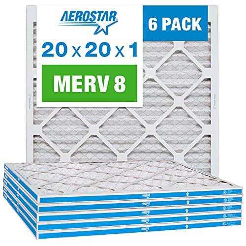 Aerostar 20x20x1 MERV 8 Pleated Air Filter, AC...
