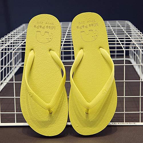 Zapatillas Casa Chanclas Sandalias Zapatillas Cómodas De Color Sólido Simples para Mujer, Ropa Informal A La Moda, Chanclas Antideslizantes para Parejas, Transpirables, Playa-Yellow_39-40