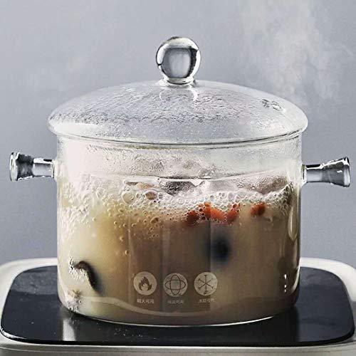 Baker's Basics Saucepans Glass Pot Casserole Baking Oven Blooming Heat-resistant Glass Cooking Pot Covered Saucepan with Lid Pasta Pot Cookware-1.1quart (1L ) (Clear)