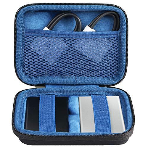co2CREA Étui de Voyage Rigide Housse Cas pour Samsung T7 Touch 1To/2To/500Go SSD(pour 2 SSD, Noir/Bleu)(boîte Seule)