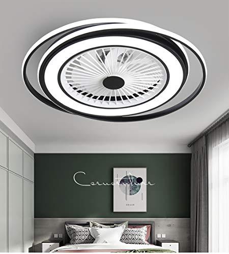 JXILY Ventilador De Techo Lámpara Techo Lámpara del Ventilador LED 50W Moderno Creativo Silencio Dormitorio Sala Lámpara Sala Estar con Ventilador Lámpara con El Mando A Distancia Negro