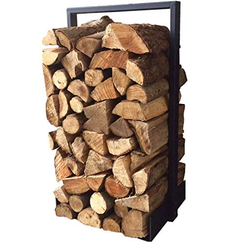Firewood log rack for home fire place decoration (indoor/outdoor) modern and rustic style (Black)...