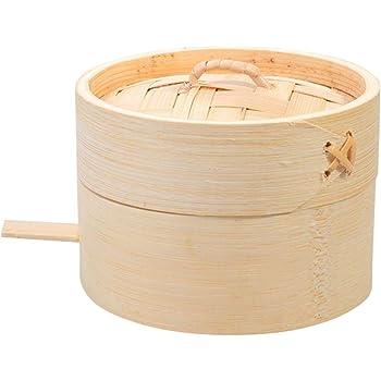 Hemoton Vaporera de Bambú, Vaporera de Bambú para Cocinar al Vapor, Canasta de Vapor de Madera
