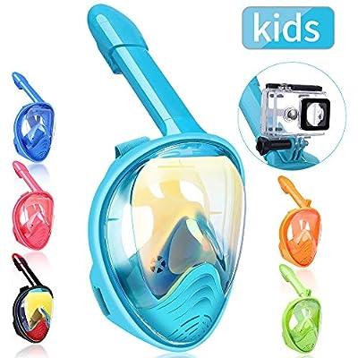 QingSong Kids Full Face Snorkel Mask, Snorkeling Mask with Detachable Camera Mount, 180 Degree Panoramic View Snorkel Set Anti-Fog Anti-Leak