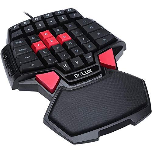 ZQJ Bunte kabelgebundene T9-Tastatur-1 Einhändiges Gaming Tastatur Regenbogen HintergrundbeleuchtungTragbare Mini-Gamer-Tastatur mit Handgelenkauflage für Computer/PC/Desktop/Laptop