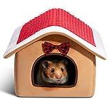 Hollypet Warm Small Pet Animals Bed Dutch Pig Hamster Cotton Nest Hedgehog Rat Chinchilla Guinea Habitat Mini House, Christmas House