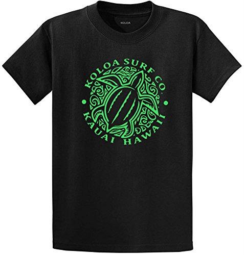 Koloa Surf Hawaiian Turtle Front Logo Heavyweight Cotton T-Shirt-4XL-Black/Green