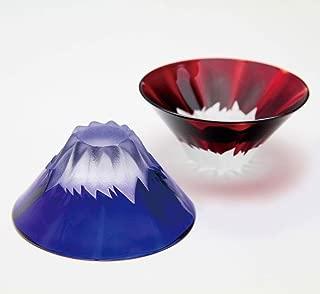 Mt.Fuji Toast Sake Glasses (Set of 2, Blue & Red, Japan's National Award Received, Made in Japan)