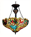 Chloe Lighting CH1A674VB18-UH2 Leslie Tiffany Style Victorian 2 Light Inverted Ceiling Pendent with Shade, 28.25 x 18 x 18', Multicolor