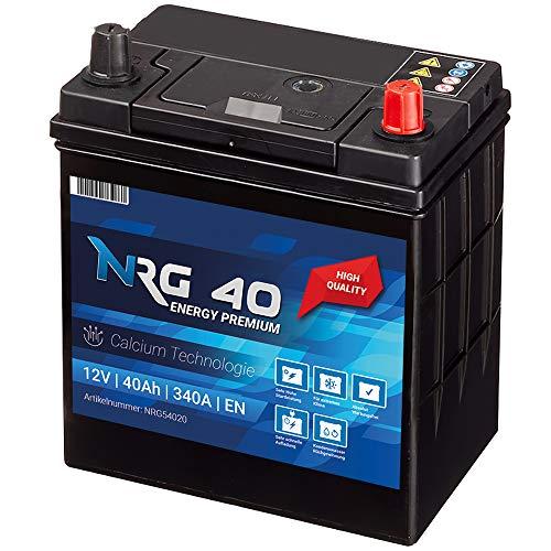 NRG Premium Autobatterie 40Ah 12V 340A/EN ASIA Japan Plus Pol Rechts 30% mehr Startleistung ersetzt 35AH 38AH 42AH
