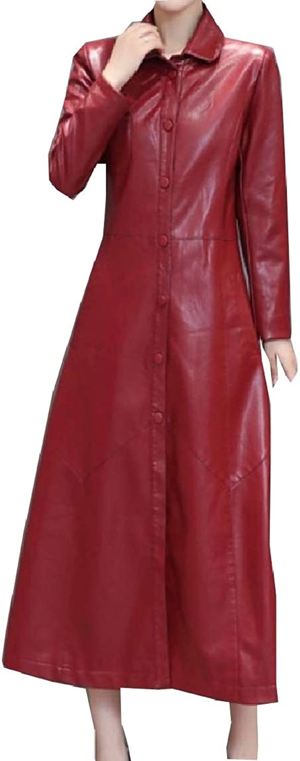 Baseby Womens Smocked Waist Slim Overcoat Notch Collar Button Leather Jacket