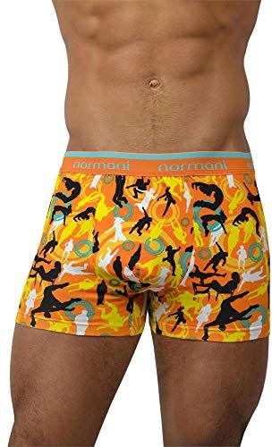 normani 4 x Herren Retroshorts mit hohem Baumwollanteil und verschiedenen Motiven Farbe Dance and Style/Orange Größe XL