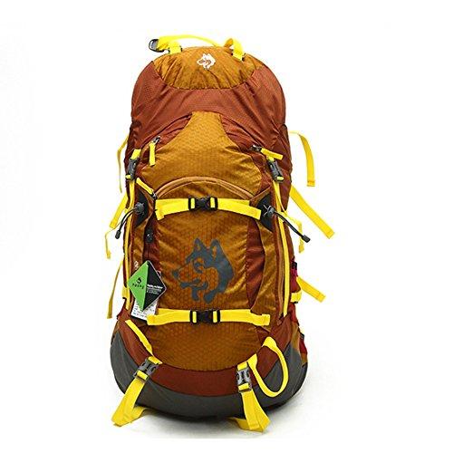 Jungleking リュックサック 防水 レインカバー付 登山 リュック 55L アウトドア 軽量 リュック バックパック メンズ カバン 多機能 ディバッグ ユニセックス (イエロー)