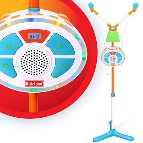 Kids Karaoke Machine and Music Player with Two Mics, Bluetooth and Aux Connectivity, LED Lights, and Sound Effects
