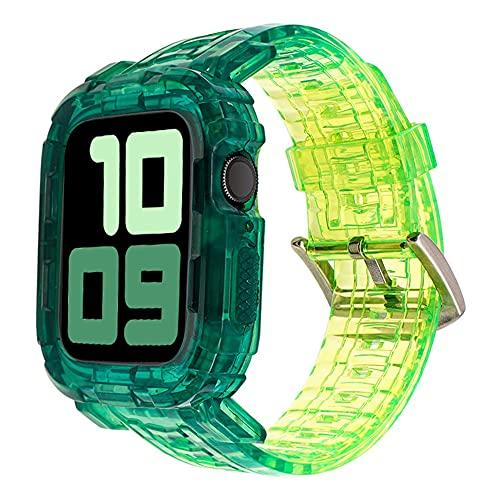 CHENPENG Correa Compatible con Apple Watch 1/2/3/4/5/6 Bandas Deportivas Transparentes de TPU Suave Premium Correas Protectoras Resistentes de una Pieza con Estuche Protector,F,38MM