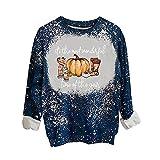 Wave166 Disfraz de Halloween para mujer, calabaza impresa, sudadera, camiseta de manga larga, blusa, carnaval, fiesta, otoño, invierno, ropa de calle para mujeres, beige, S