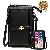 Handy Umhängetasche Geldbörse Damen Touchscreen Handtasche zum Umhängen Leder Schultertasche Klein Handy Tasche für iPhone 12/12 Pro/11/XR/Xs, Samsung Galaxy S21/S20/S10/S9, Handy bis zu 6.5''
