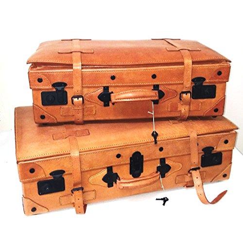 Juego de 2 Maletas de Cuero Rígidas Vintage para Viaje o decoración | Franquihogar (Juego de 2 Maletas)