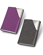 homEdge Soporte para tarjetas de visita, delgado, profesional, 2 paquetes de piel sintética y acero inoxidable, para viajes y negocios, color gris y morado