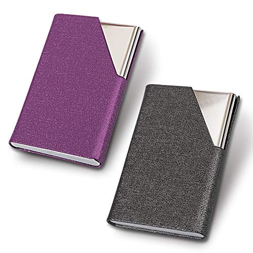 HomEdge - Tarjetero para tarjetas de visita, delgada, profesional, 2 paquetes de piel sintética + estuche para tarjetas de visita de acero inoxidable para viajes y negocios, color morado