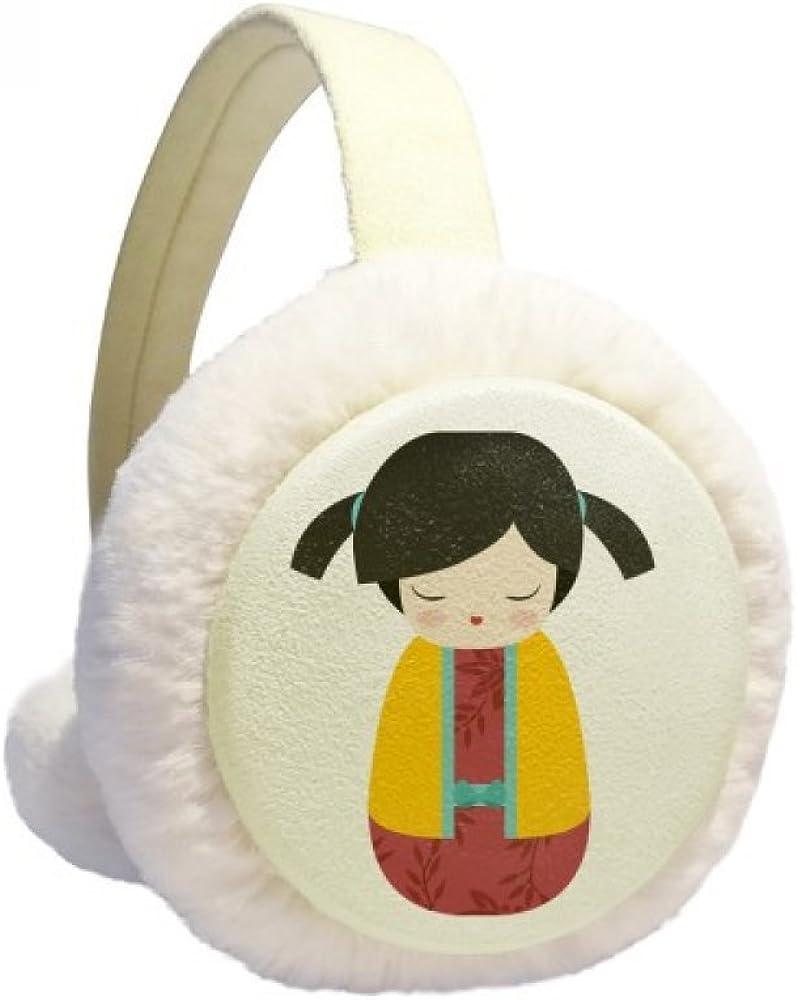 Yellow Kimono Japan Doll Art Winter Ear Warmer Cable Knit Furry Fleece Earmuff Outdoor