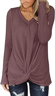 Shallood Camicetta Scollo a V Donna Elegante T-Shirt Manica Lunga Casual Sexy Ufficio Blusa Pullover Top Tinta Unita Magli...