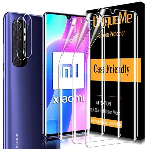 UniqueMe [3 Pack] Protector de Pantalla para Xiaomi Mi Note 10 Lite y [2 Pack] Protector de Lente de cámara para Xiaomi Mi Note 10 Lite cámara, [Cobertura máxima] TPU [Sin Burbujas]