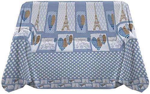 IlGruppone Telo arredo Cotone Fantasia Parigi 2 Misure copritutto grandfoulard copridivano Made in Italy - Azzurro - Matrimoniale