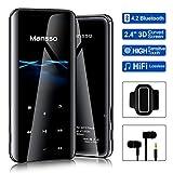 Mansso Lecteur MP3, MP3 avec Bluetooth 4.2/ Écran incurvé de 2,4 Pouces/Radio FM/enregistreur Vocal/Lecture vidéo/Lecture de Texte, Extensible 128 G