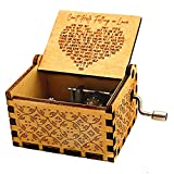 UNIQLED Wood Music Box Gift, Can't Help Falling in Love Antique Engraved Hand Crank Mechanism Musical Boxes Case for Birthday Present Wife Girlfriend Kids