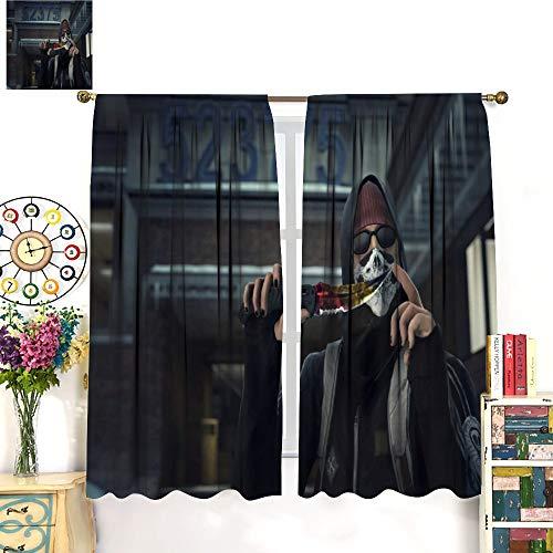 Petpany Csgo- Global Offensive Bandit Key Art Game Illustration Cortinas de barra resistentes al desgaste 140 x 160 cm, aislamiento de ahorro de energía, adecuado para dormitorio