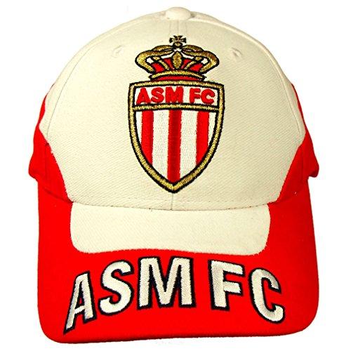 AS Monaco FC - Casquette Brodée 'AS Monaco' Officielle - Taille réglable - Rouge, Blanc