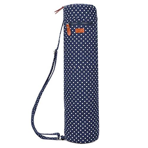 Baosha YG-28 Yoga Mat Bag Segeltuch Yogatasche Durchgehende Reißverschluss Tragetasche für Yoga, Pilates, Fitness und Gymnastikmatten mit Multifunktions Aufbewahrungstaschen (Blau Tupfen)