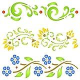 Vintage Borders Stencil, 16,51 x 16,51 cm (M) – Plantillas para paredes Original Clásico Diseño de Borde de Flor Plantilla Plantilla Plantilla