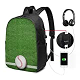 Sac à Dos pour Ordinateur Portable Sacs Baseball Field Green Sport Fashion Travel Bag with USB Charging Port and Headphone Port for College Work Travel