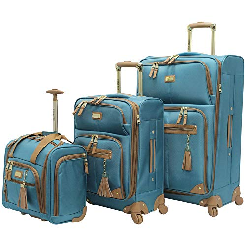 Steve Madden Designer Luggage Collection- 3 Piece Softside Expandable Lightweight Spinner Suitcases- Travel Set includes Under Seat Bag, 20-Inch Carry on & 28-Inch Checked Suitcase (Harlo Teal Blue)