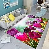 Kunsen Patrón de Flores Creativas clásicas-150x220cm Alfombra Duradera Resistente a la Suciedad Lavable fácil de Limpiar Antideslizante alfombras Rebajas Alfombra Infantil Comedor 4ft 11''X7ft 3''