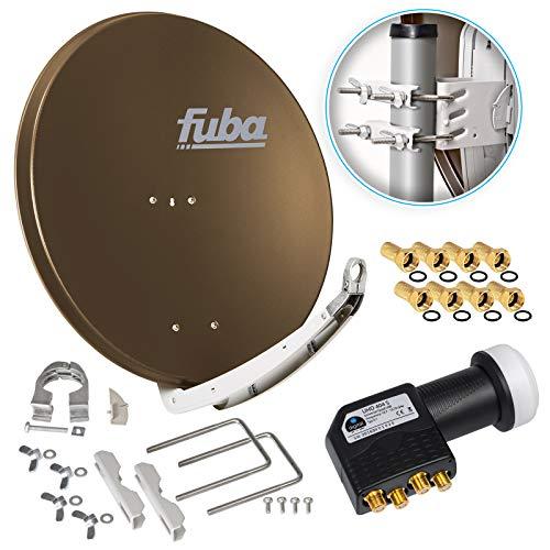 Fuba DAA 850 B 85cm Sat Schüssel Braun Satellitenantenne Aluminium Reflektor + HB-DIGITAL UHD Quad LNB 4 Teilnehmer Direktanschluss schwarz 4K Ultra HDTV Full HD 3D fähig + 8X F-Stecker vergoldet