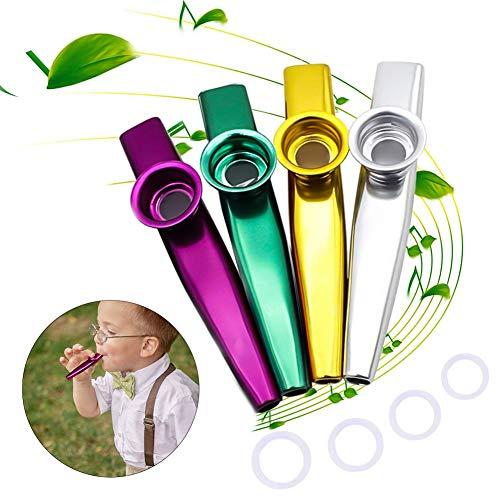 YFOX 4 verschiedene Metall-Kazoo-Farben,ausgestattet mit 4 Kazoo-Membranen,sind ein guter Begleiter für Gitarren,Violinen, Klaviertastaturen und ein ausgezeichnetes Geschenk für Musikliebhaber