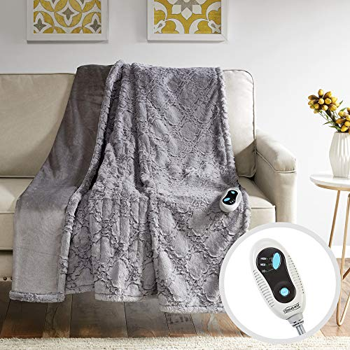 Beautyrest Brushed Long Fur Electric Throw Blanket Ogee Pattern Warm and Soft Heated Wrap with Auto Shutoff, 50x60, Grey