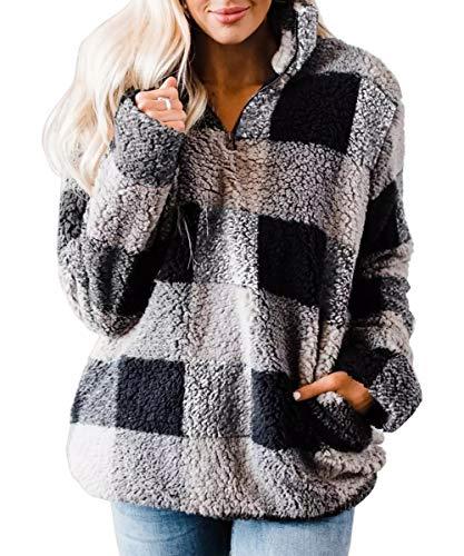 ZESICA Women's Plaid Long Sleeve Zipper Sherpa Fleece Sweatshirt Pullover Jacket Coat with Pockets Grey