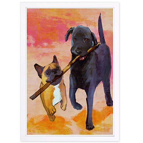 Wynwood Studio Animals Framed Wall Art Prints 'Frenchie Lab Playing' Home Décor, 13' x 19', Brown, Black