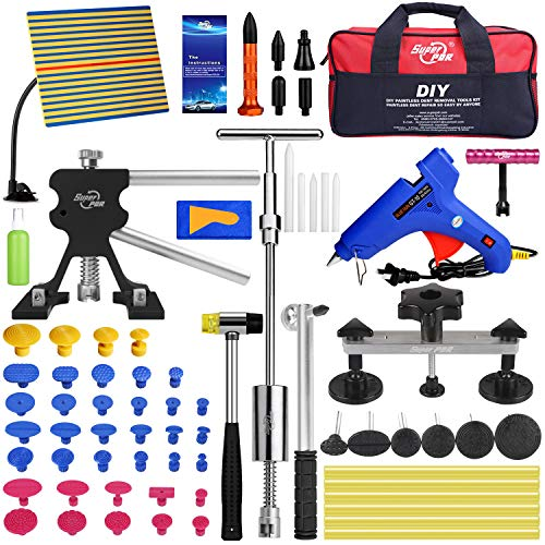 PDR Auto Paintless Dent Repair Kits, Car Dent Puller Kit with Bridge Dent Puller Kit, Full Set Dent Remover Tools for Door Dings, Hail Damages and All Kinds of Car Dents