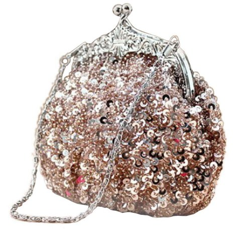 Chicastic Fully Sequined Mesh Beaded Antique Style Wedding Evening Formal Cocktail Clutch Purse - Champagne/ Rose Gold