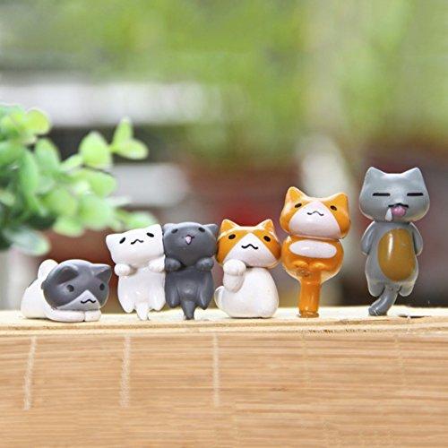 Cutelove - Juego de 6 Adornos en Miniatura de Animales para Jardín de Hadas, Gatos, Plantas de Jardín, microscópico, Bonsai o Decoración