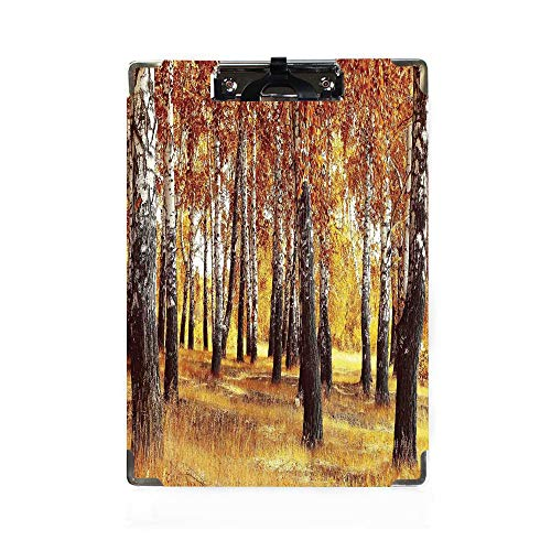 Woodland Decor Letter Size Clipboard,Jungle in the Fall with Yellow Birches and Dry Herb Golden Leaves Warm Weather Photo Customized Cute Hardboard Office Clipboard with Low Profile Clip for Letter Si