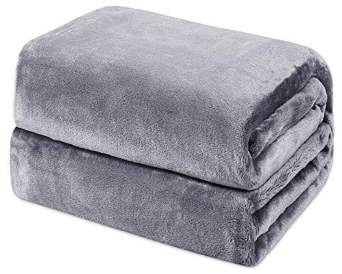 Mantas de Franela 200x230cm Súper Suaves Esponjosas para El Sofá Cama Colcha de Microfibra, Gris Oscuro