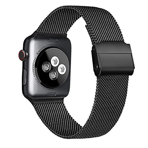 Meliya Cinturino Compatibile per Apple Watch Cinturino 44mm 42mm 40mm 38mm Series 6 5 4 3 2 1 SE, Cinturino in Metallo Maglia Milanese a Acciaio Inossidabile Cinturini (Nero, 42/44mm)