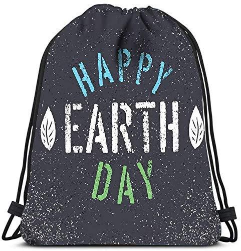 Unisex Drstring Rucksack Taschen Happy Earth Day Grunge Blatt Symbol Schablone Grunge Alphabet Sport Sporttasche Lagerung Organizer